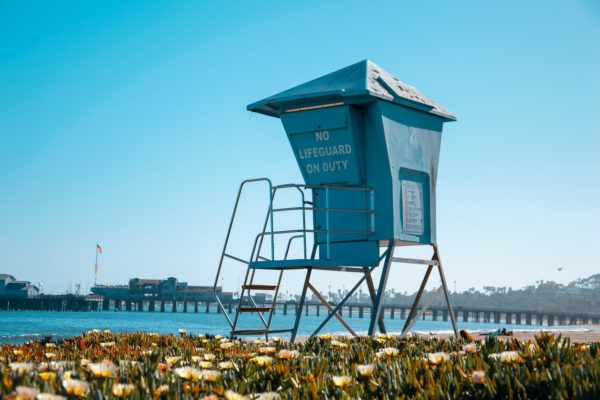Photo of lifeguard tower on beach